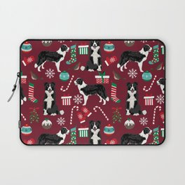 Border Collie christmas stockings presents holiday candy canes dog breed pattern Laptop Sleeve