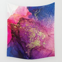 Pink, Gold and Blue Explosion Painting Wall Tapestry