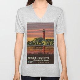 Vintage Poster - Jupiter Inlet Lighthouse Outstanding Natural Area, Florida (2015) Unisex V-Neck