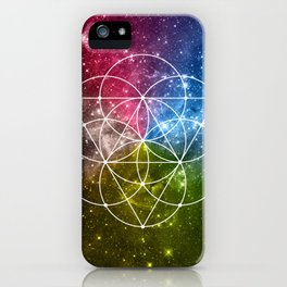 Seed of Life with Triangles - Sacred Geometry - Rainbow Colors - Galaxy Art - Universe - Yoga - iPhone Case