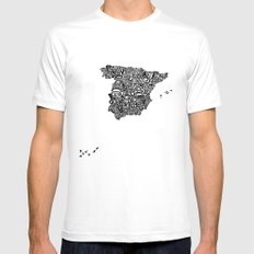 Typographic Spain map art print White MEDIUM Mens Fitted Tee