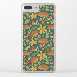Woodland Autumn Hedgehogs Clear iPhone Case