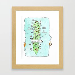 Lummi Island Map Framed Art Print