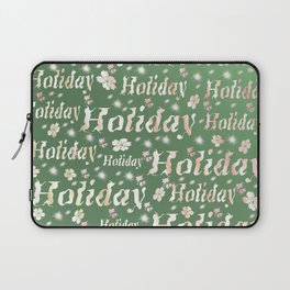 shiny font happy holidays in green rose Laptop Sleeve