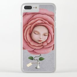girl with her head in the blooming rose Clear iPhone Case