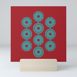 turquoise and vermilion flower Mini Art Print