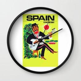 1960 Spain Guitar Player Travel Poster Wall Clock