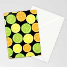 Citrus Slices on Black Stationery Cards
