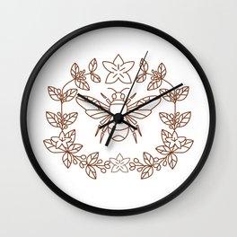 Bumblebee Coffee Flower Leaves Icon Wall Clock