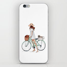 Fashionista with Bike and Dog iPhone Skin