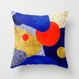 Terrazzo galaxy blue night yellow gold orange Throw Pillow