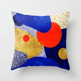 Terrazzo galaxy blue night yellow gold orange Throw Pillow