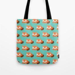 Sleeping Fox Print - Teal Tote Bag