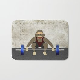 Sock Monkey Bodybuilder Bath Mat