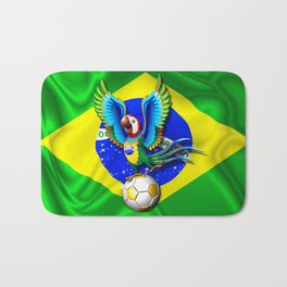 Brazil Macaw Parrot with Soccer Ball Bath Mat
