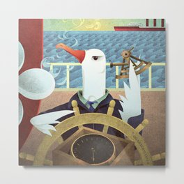 A-Z Animal, Albatross Quartermaster - Illustration Metal Print