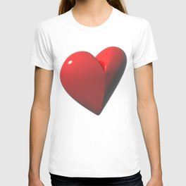 Red heart on white background T-shirt