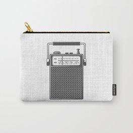 Retro portable radio. Monochrome vintage style illustration Carry-All Pouch