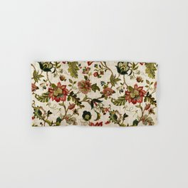 Red Green Jacobean Floral Embroidery Pattern Hand & Bath Towel