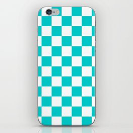 Checkered - White and Cyan iPhone Skin