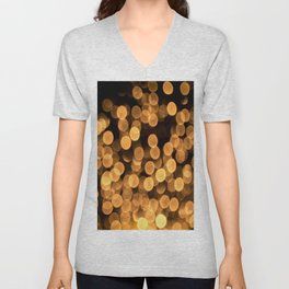 Golden Bokeh Light On A Black Background #decor #society6 Unisex V-Neck