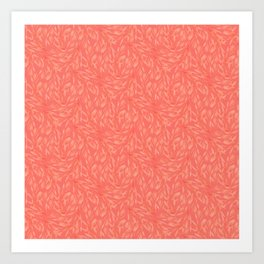 Living coral abstract foliage decorative pattern Art Print