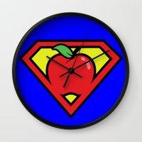 teacher Wall Clocks featuring Super Teacher by David Rodriguez Jr