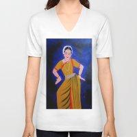 dancer V-neck T-shirts featuring Dancer by Priyanka Rastogi