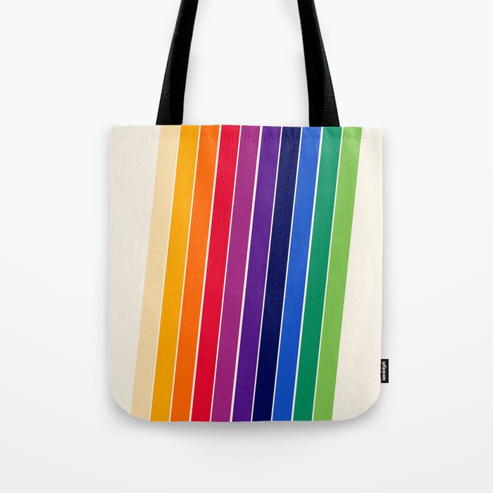 Awe Yeah - 70s style retro throwback 1970s rainbow colorful trendy graphic art Tote Bag