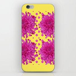 Fuchsia Pink Chrysanthemums Garden Yellow Art iPhone Skin