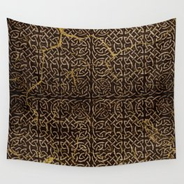 Celtic Wood Pattern with Gold Accents Wall Tapestry