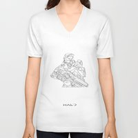master chief V-neck T-shirts featuring HALO Master Chief continuous line by Sam Hallows