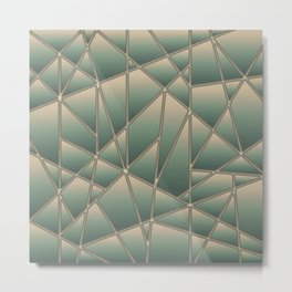 'Quilted' Geometric in Golden Green Metal Print
