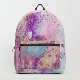 Dream: magenta, blue, and peach abstract ink spills Backpack