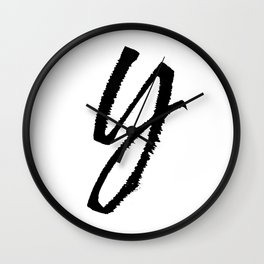 Letter Y Ink Monogram Wall Clock