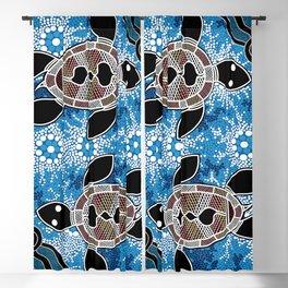 Authentic Aboriginal Art - Sea Turtles Blackout Curtain
