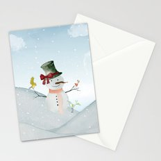 Winter Wonderland- Snowman and birds - Watercolor illustration Stationery Cards