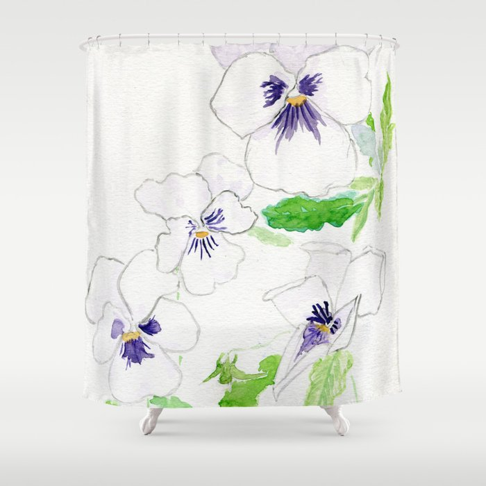 Snow Pansies Shower Curtain