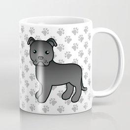 Black English Staffordshire Bull Terrier Cartoon Dog Coffee Mug