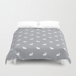 Rabbit silhouette minimal grey and white basic pet art bunny rabbits pattern Duvet Cover