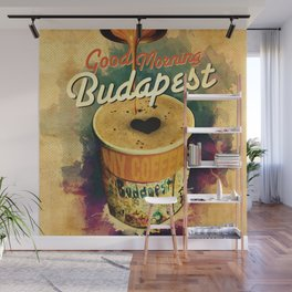 Good Morning Budapest Coffee on the go Wall Mural