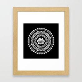 Black and White Lotus Mandala Framed Art Print