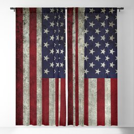American Flag, Old Glory in dark worn grunge Blackout Curtain