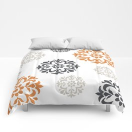 Flowers in Grey and Mustard Comforters