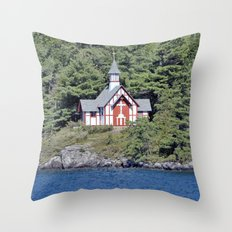 St Isaac Jogues Chapel, Hecker Island (Lake George, NY) Throw Pillow