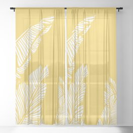 Banana Leaves on Yellow #society6 #decor #buyart Sheer Curtain