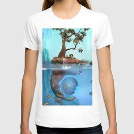 Cute fairy on a island, underwater scene T-shirt