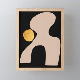 Black  Beige Gold Abstract  Art Framed Mini Art Print