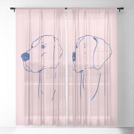 Weimaraner (Pink and Blue) Sheer Curtain