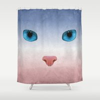meow Shower Curtains featuring MEOW by Rosa Picnic